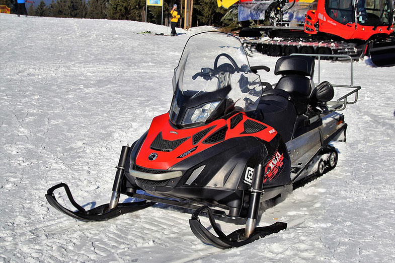 Red and Black Snowmobile