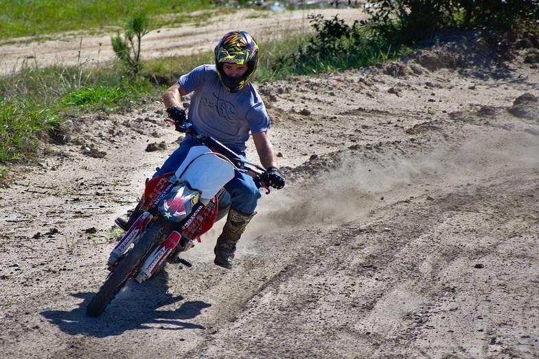 Dirt Bike Turning a Corner