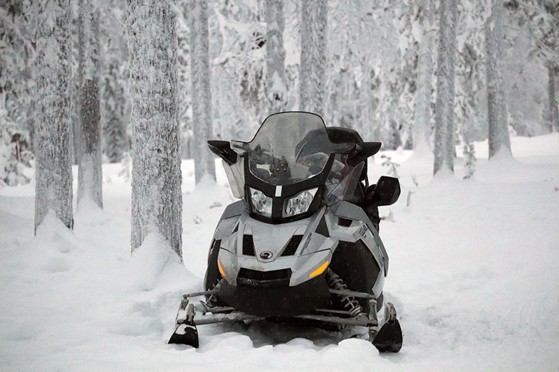 Gray and Black Snowmobile