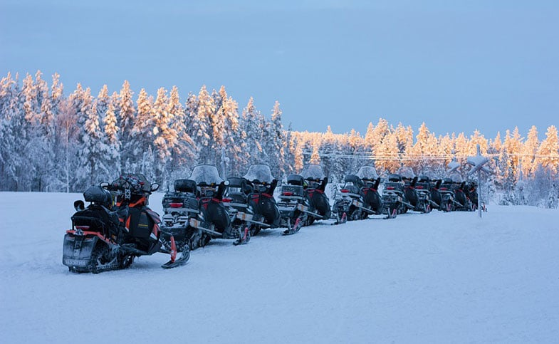 Multiple Snowmobiles