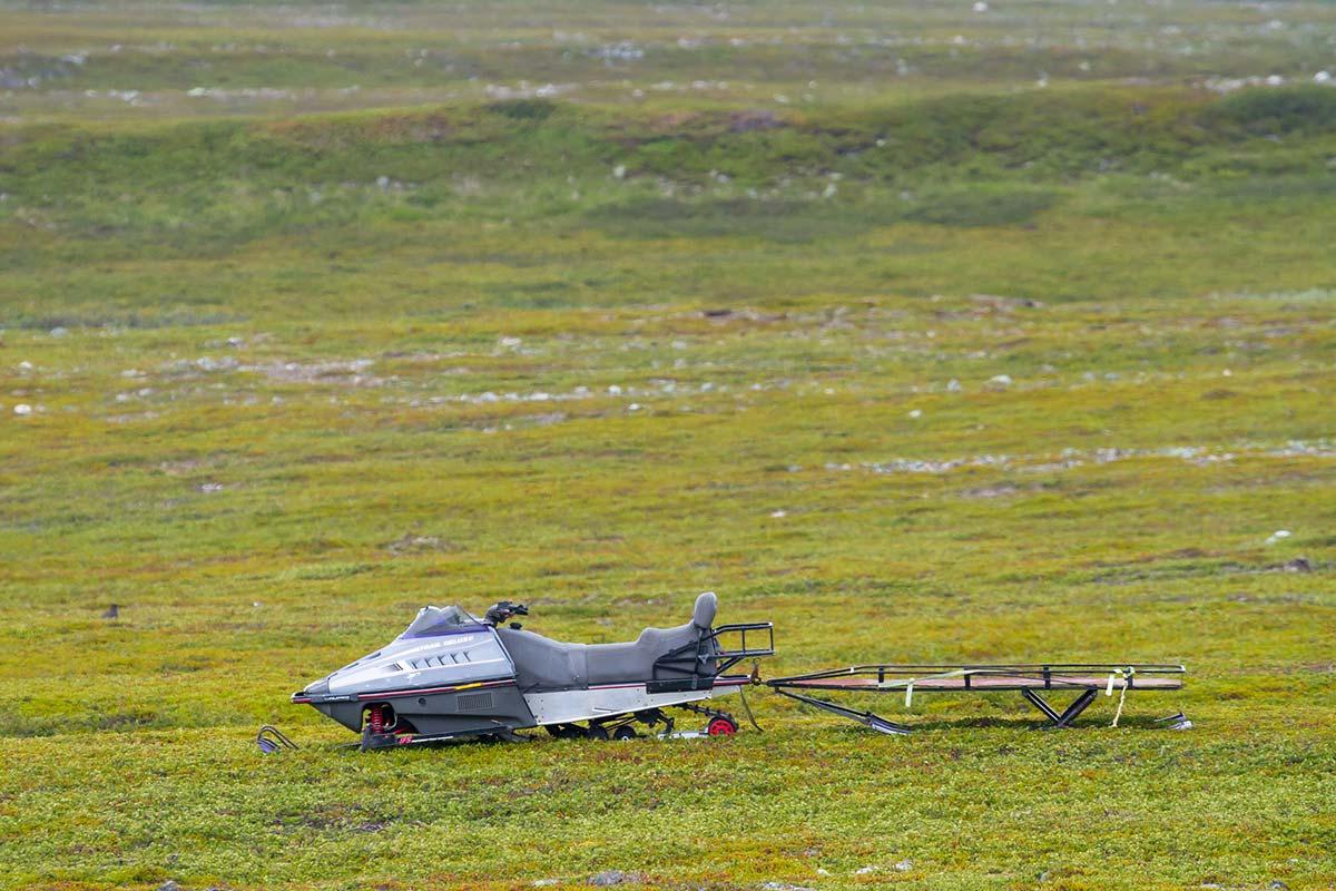 Snowmobile on Grass