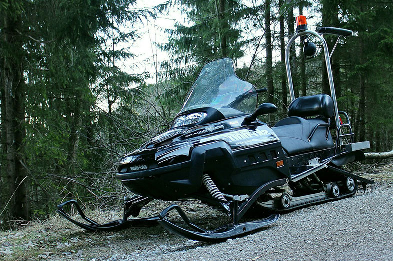 Snowmobile on the Road
