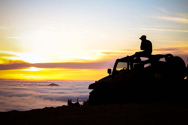 Sitting on a Jeep Wrangler at Sunrise