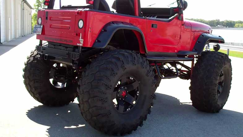 1995 Red Lifted Jeep Wrangler