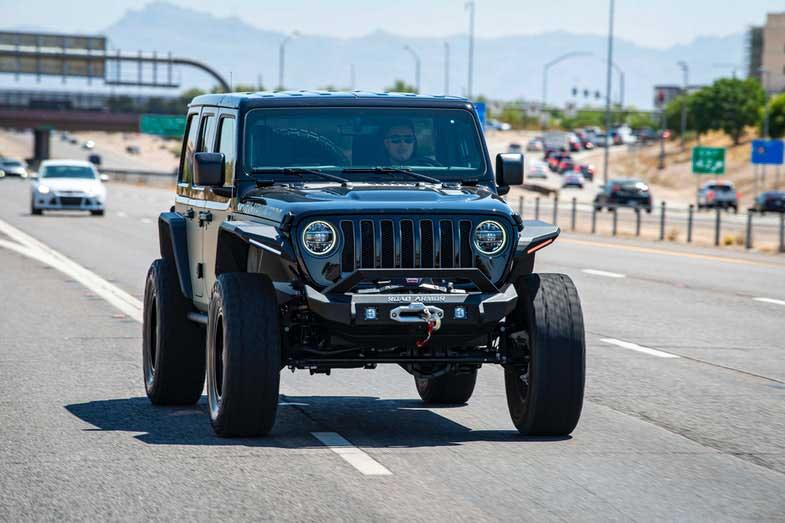 Black Jeep Wrangler on the Road