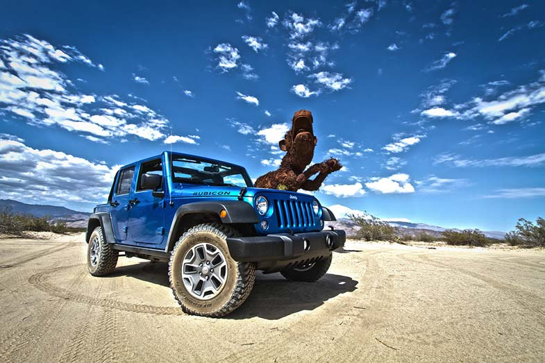 Blue Jeep Wrangler Rubicon in Borrego Spring California