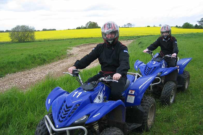 Blue Yamaha Wolverine 350 4x4 Quads