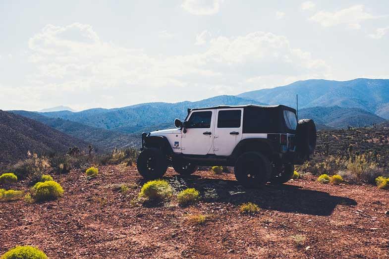 Las Vegas Desert White Jeep