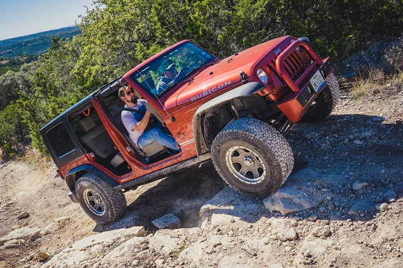 Red Jeep Rubicon Hidden Falls Texas 4x4 Off-Road