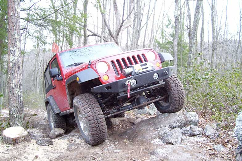 Red Jeep Wrangler Rubicon Trail