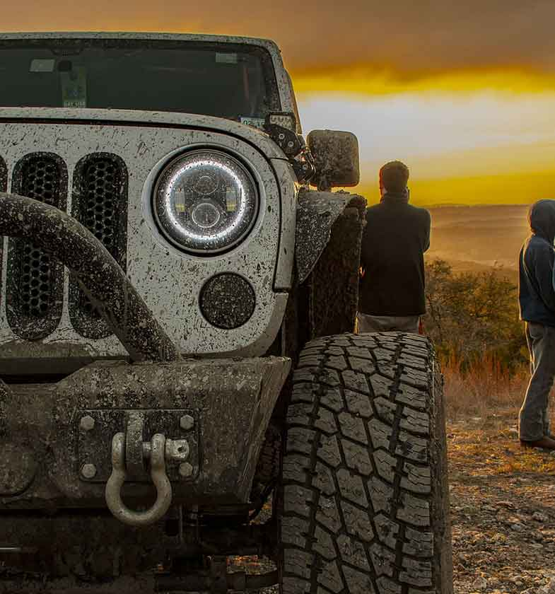 Close-up of a Jeep During a Sunset