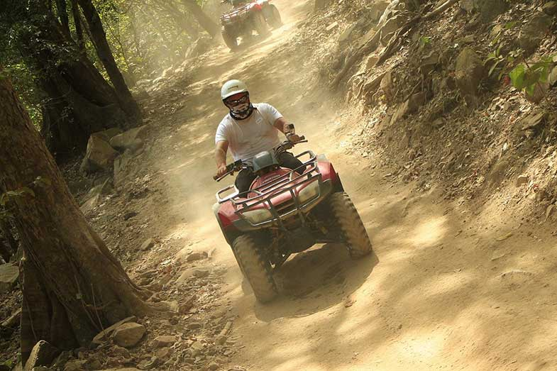 ATV Off-Road Quad Riding in Forest