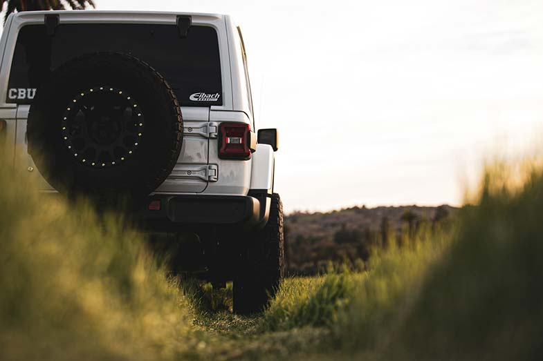 White Jeep Wrangler Off-Road Trail