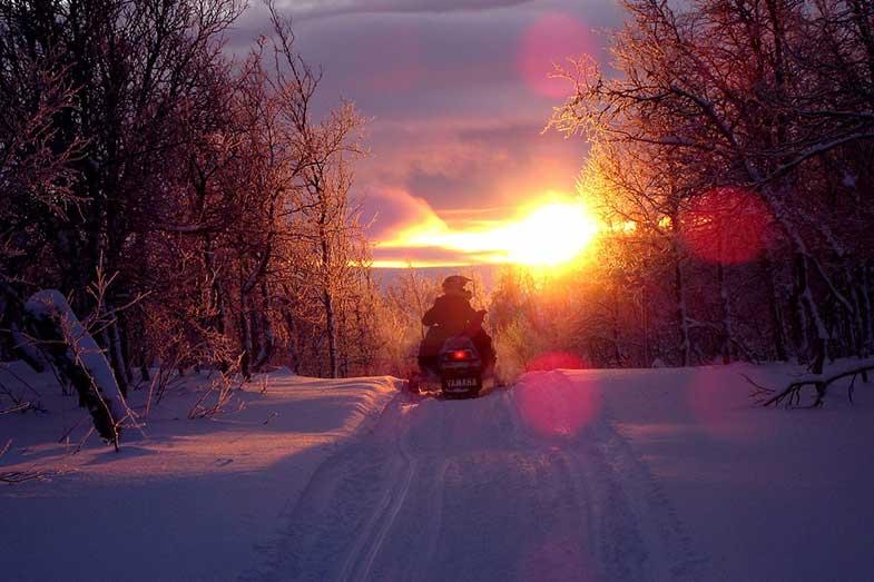 Yamaha Snowmobile Trail Sunset