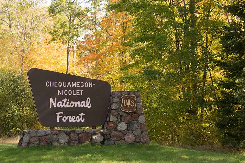 Chequamegon Nicolet National Forest Sign in Wisconsin
