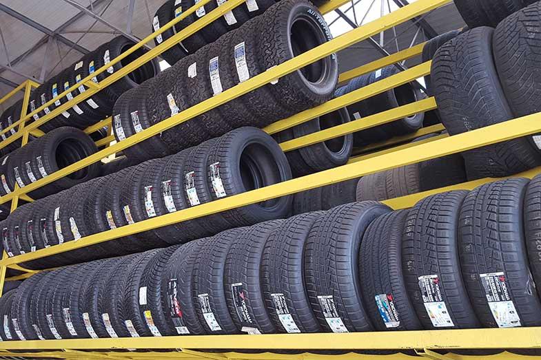 Black Tires on Yellow Rack