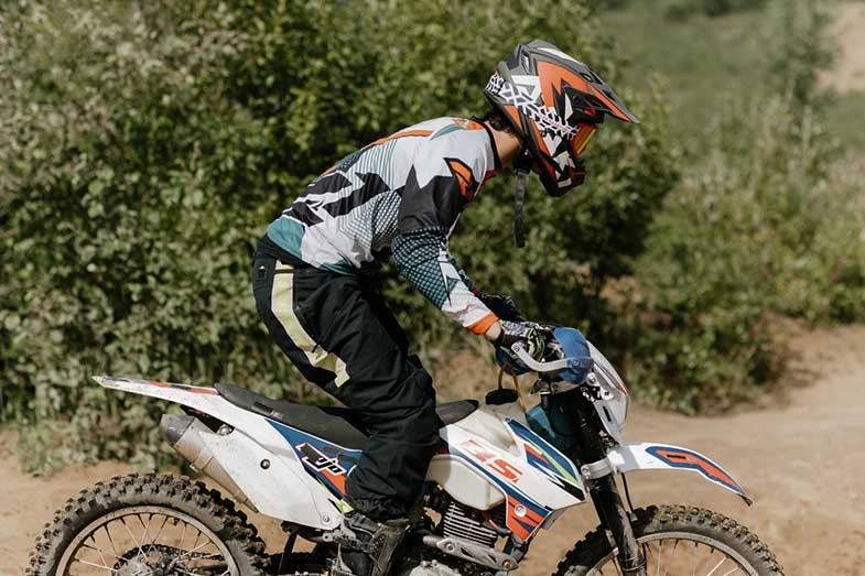Dirt Bike Rider White Motorcycle