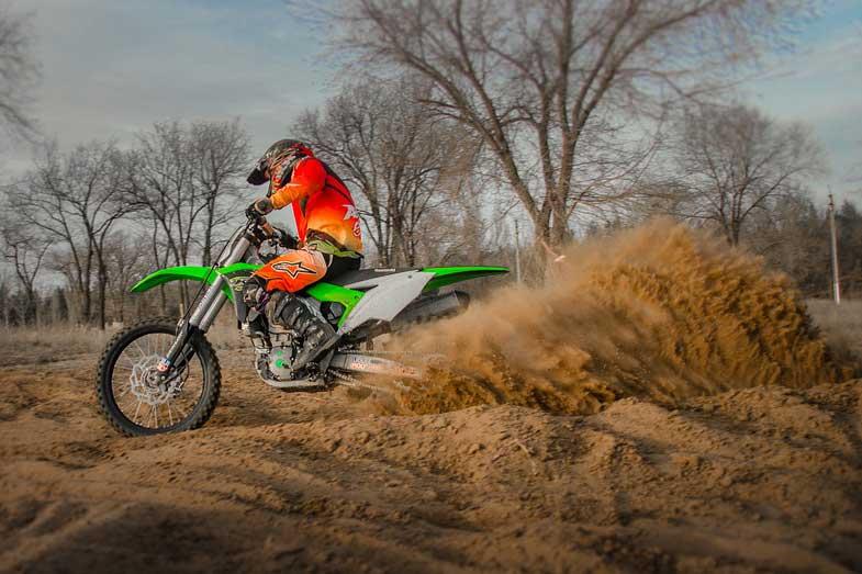 Green Kawasaki Motorcycle Dirt Bike