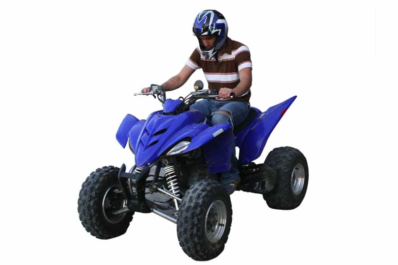 Blue Yamaha Raptor All-Terrain Vehicle