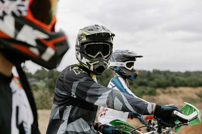Dirt Bike Rider Helmet and Goggles