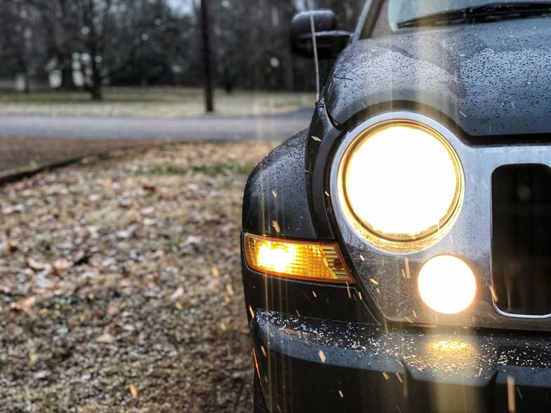 Jeep Headlight, Car Running