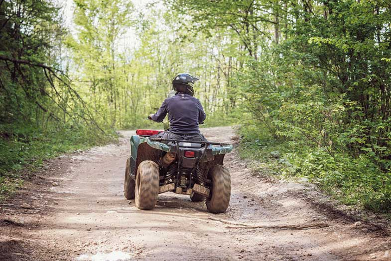 Person Riding ATV Bike on Mountain Trail