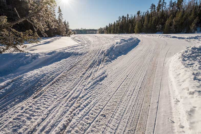 Snowmobile Tracks in Minnesota