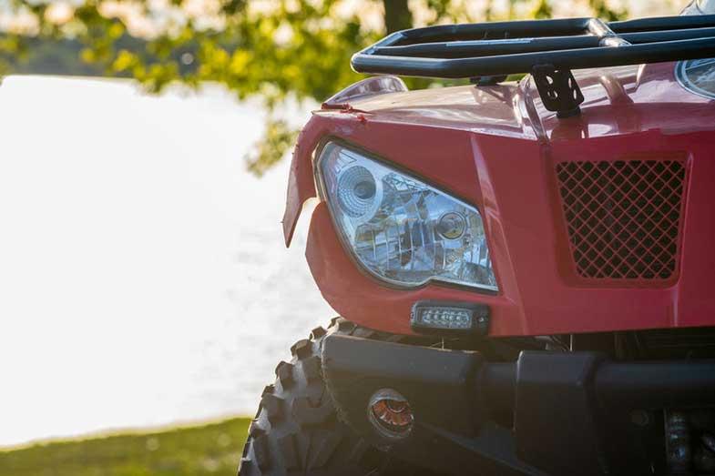Close-up Red ATV Quad Bike