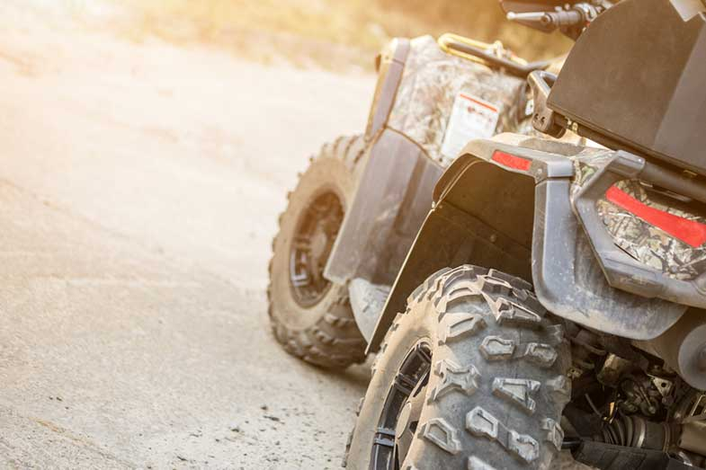 Close-up Tail View of ATV Quad Bike