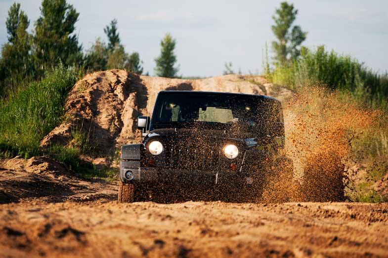 Off-Road Car Splashing Through Mud