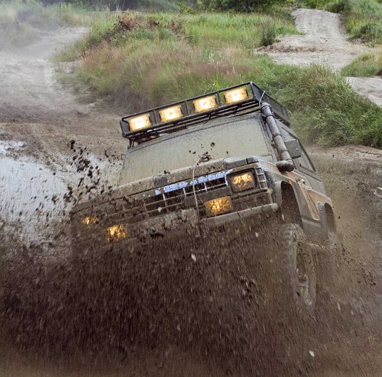Off-Road 4x4 Vehicle Muddy Splash