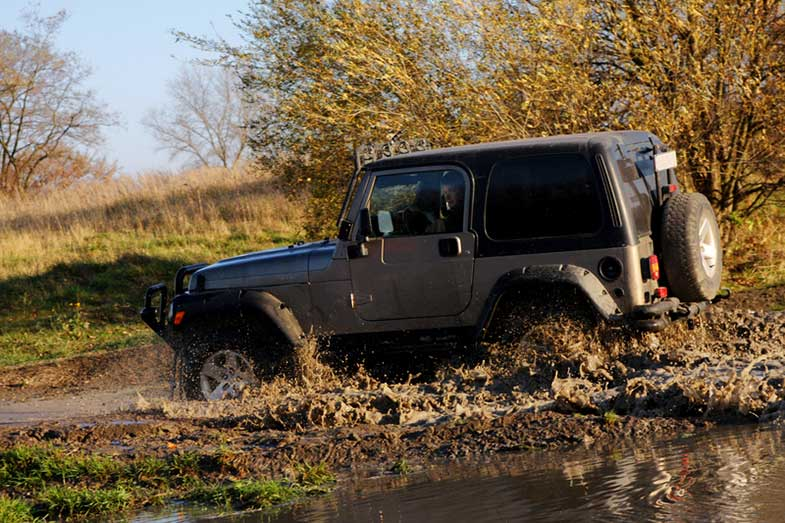 Off-Road Jeep Adventure Driving Through Water