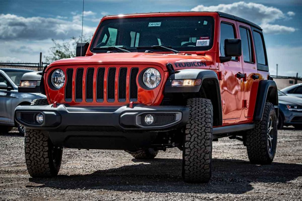 Parked Red Jeep Wrangler Rubicon Vehicle