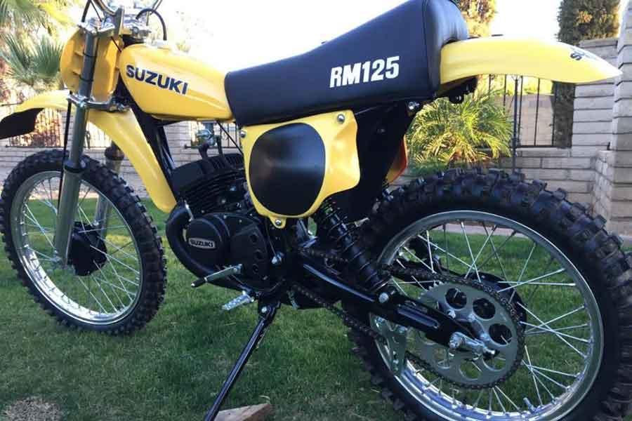 Yellow Suzuki RM125 Dirt Bike