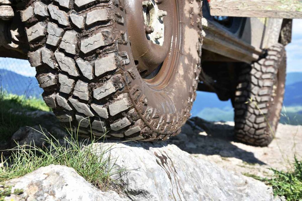 Muddy Off-Road Vehicle Tire