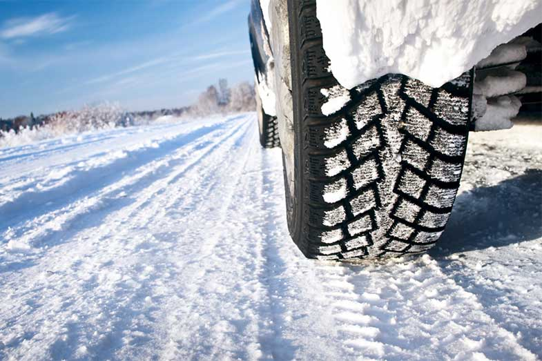 Car Tires in Winter Snow