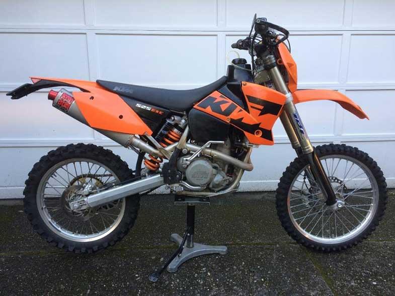 Orange 2004 KTM 525 Dirt Bike